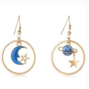 Jewelry - Stars, Moon & Saturn Drop Hoop Earrings